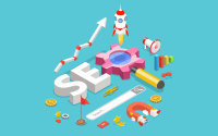 Isometric Illustration of search engine optimisation concept