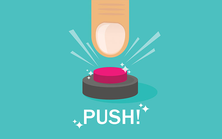 Illustrated finger pressing a button that says Push